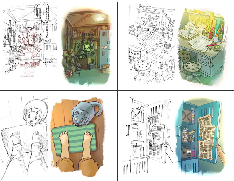 Beginning Sketches and Final Illustrations